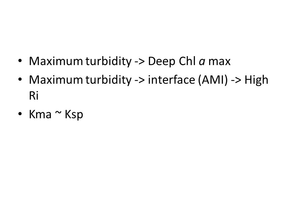 Maximum turbidity -> Deep Chl a max Maximum turbidity -> interface (AMI) -> High Ri Kma ~ Ksp