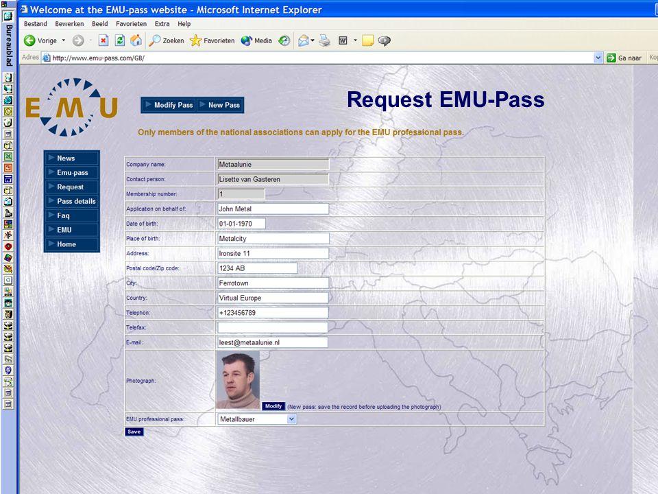 André van der Leest Request EMU-Pass