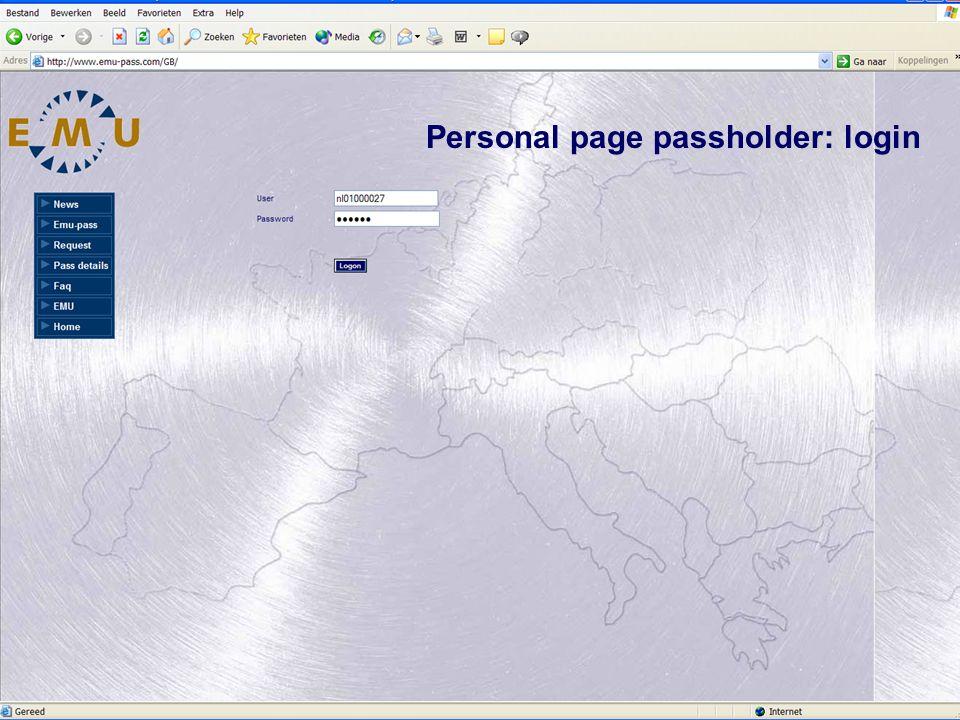 Personal page passholder: login