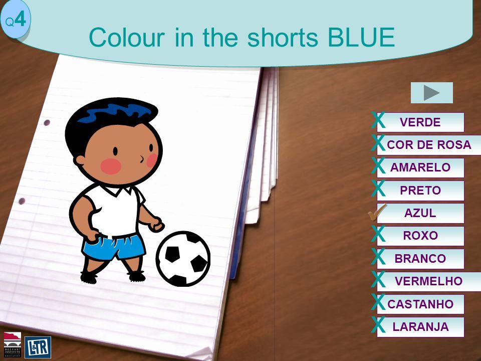 AZUL Q4Q4 Colour in the shorts BLUE VERDE x COR DE ROSA x PRETO x VERMELHO x ROXO x BRANCO x AMARELO x CASTANHO x LARANJA x