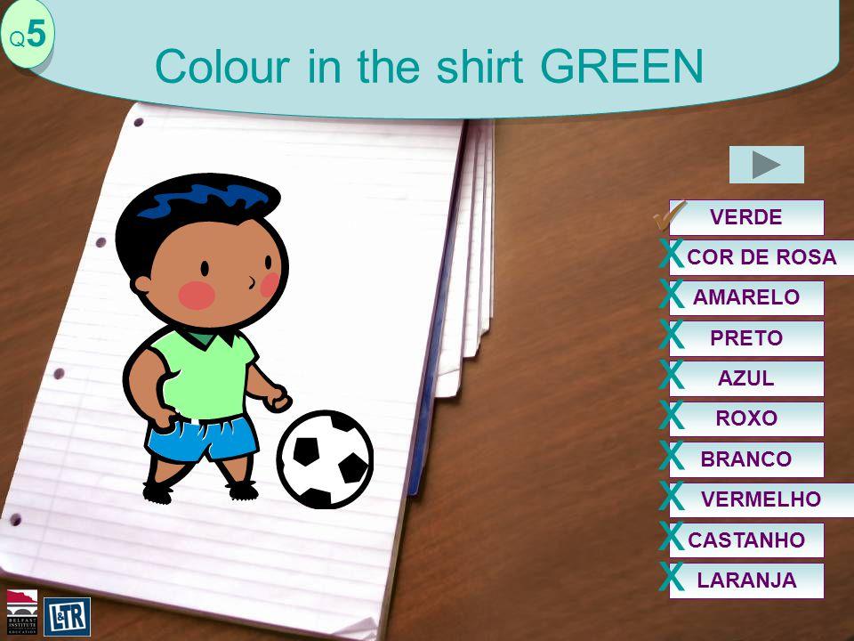 VERDE Q5Q5 Colour in the shirt GREEN AZUL x COR DE ROSA x PRETO x VERMELHO x ROXO x BRANCO x AMARELO x CASTANHO x LARANJA x