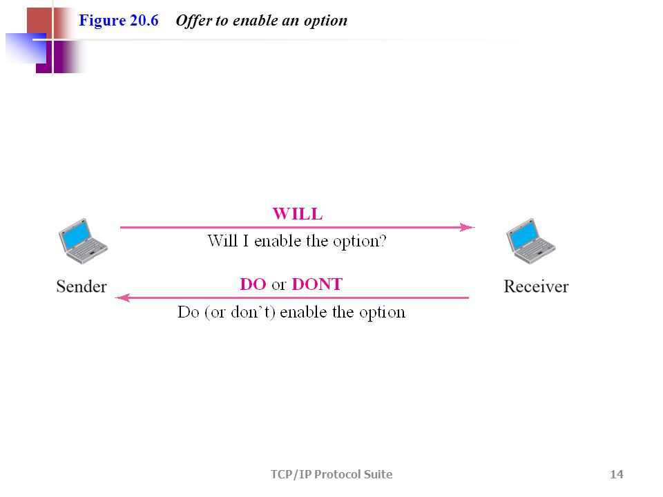 TCP/IP Protocol Suite 14 Figure 20.6 Offer to enable an option