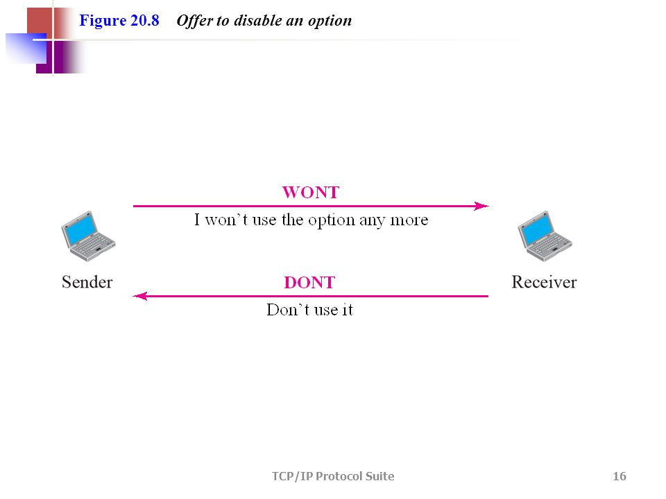 TCP/IP Protocol Suite 16 Figure 20.8 Offer to disable an option