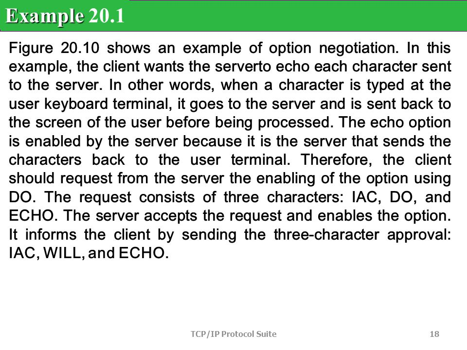 TCP/IP Protocol Suite 18 Figure 20.10 shows an example of option negotiation.