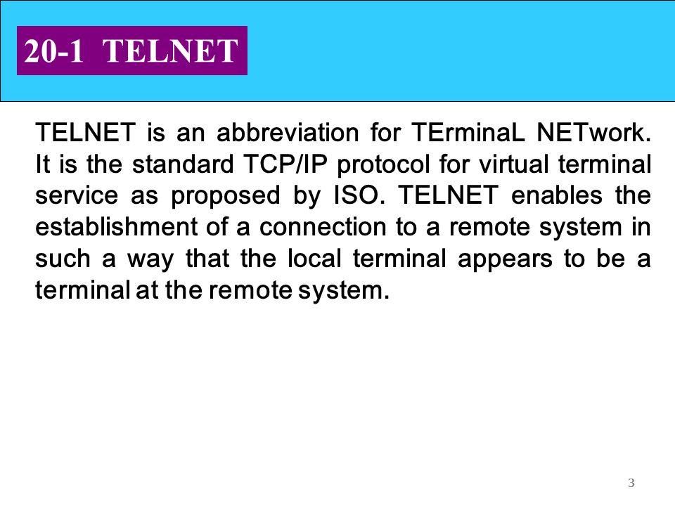 3 20-1 TELNET TELNET is an abbreviation for TErminaL NETwork.