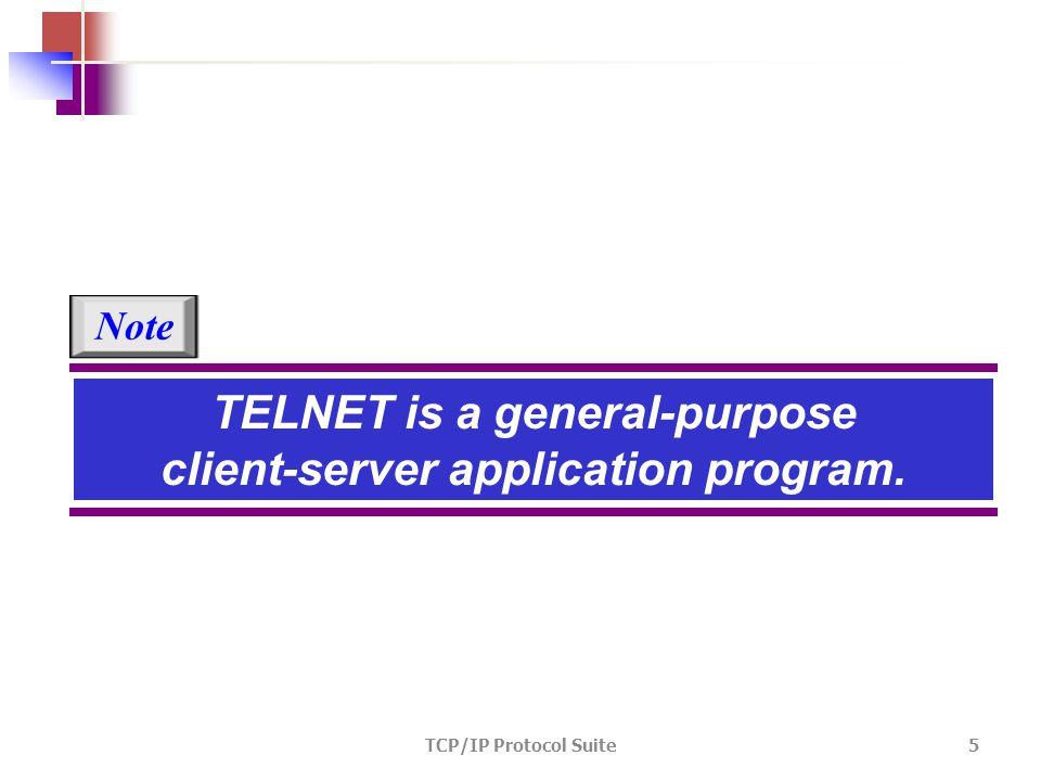 TCP/IP Protocol Suite 5 TELNET is a general-purpose client-server application program. Note