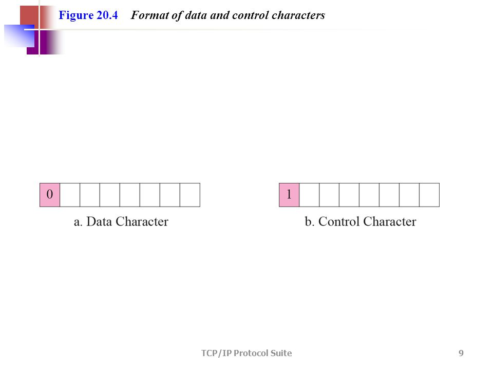 TCP/IP Protocol Suite 9 Figure 20.4 Format of data and control characters