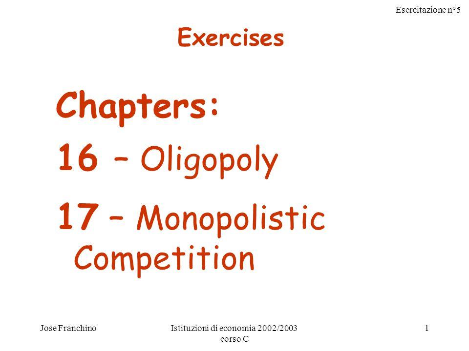 Esercitazione n°5 Jose FranchinoIstituzioni di economia 2002/2003 corso C 1 Chapters: 16 – Oligopoly 17 – Monopolistic Competition Exercises