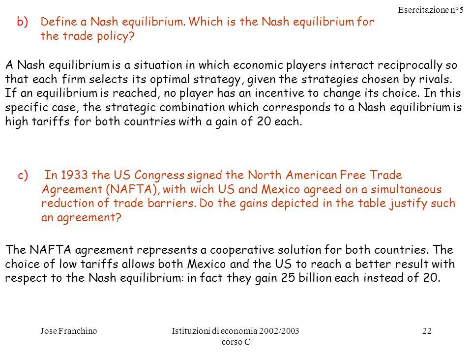 Esercitazione n°5 Jose FranchinoIstituzioni di economia 2002/2003 corso C 22 b)Define a Nash equilibrium.