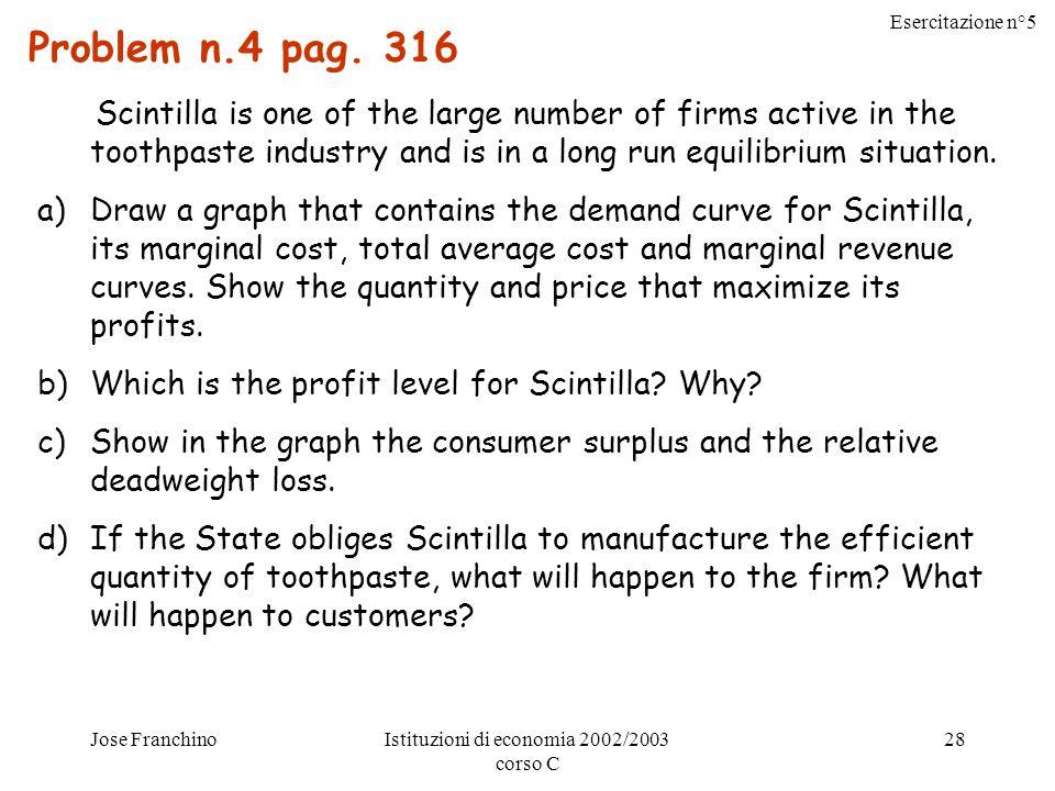 Esercitazione n°5 Jose FranchinoIstituzioni di economia 2002/2003 corso C 28 Problem n.4 pag.