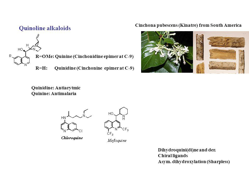Quinoline alkaloids Cinchona pubescens (Kinatre) from South America R=OMe: Quinine (Cinchonidine epimer at C-9) R=H: Quinidine (Cinchonine epimer at C-9) Quinidine: Antiarytmic Quinine: Antimalaria Dihydroquini(di)ne and der.