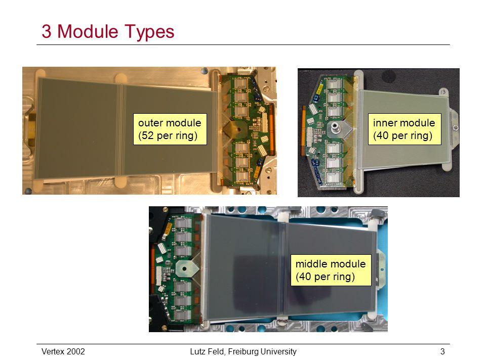 Vertex 2002Lutz Feld, Freiburg University3 3 Module Types outer module (52 per ring) inner module (40 per ring) middle module (40 per ring)