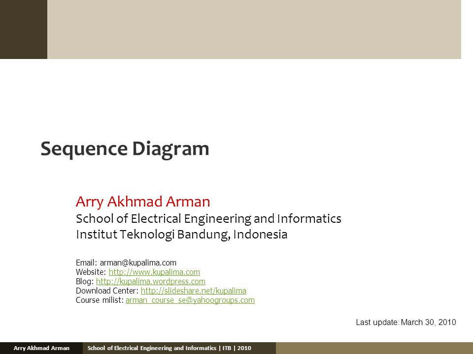 School of Electrical Engineering and Informatics | ITB | 2010Arry Akhmad Arman Sequence Diagram Arry Akhmad Arman School of Electrical Engineering and Informatics Institut Teknologi Bandung, Indonesia Email: arman@kupalima.com Website: http://www.kupalima.comhttp://www.kupalima.com Blog: http://kupalima.wordpress.comhttp://kupalima.wordpress.com Download Center: http://slideshare.net/kupalimahttp://slideshare.net/kupalima Course milist: arman_course_se@yahoogroups.comarman_course_se@yahoogroups.com Last update: March 30, 2010
