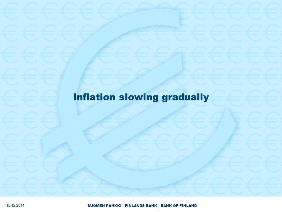 SUOMEN PANKKI | FINLANDS BANK | BANK OF FINLAND Inflation slowing gradually 15.12.2011