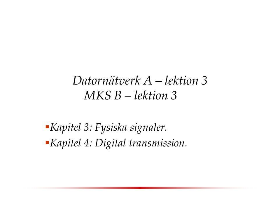 Datornätverk A – lektion 3 MKS B – lektion 3  Kapitel 3: Fysiska signaler.
