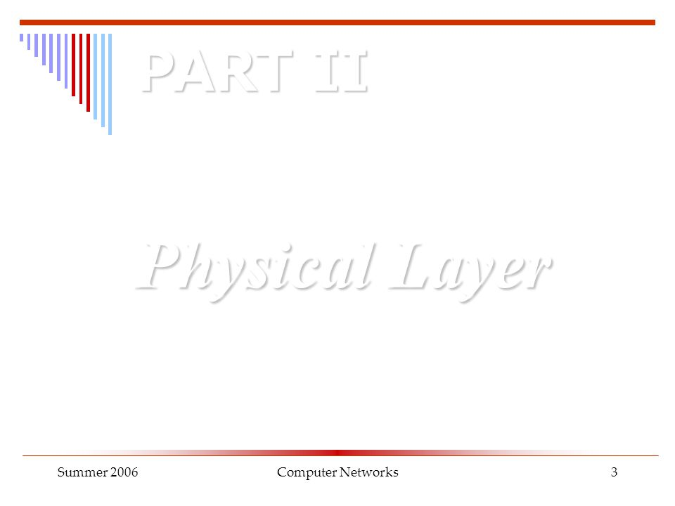 Summer 2006Computer Networks3 Physical Layer PART II