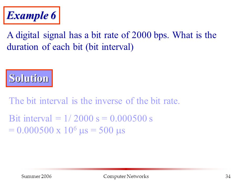 Summer 2006Computer Networks34 Example 6 A digital signal has a bit rate of 2000 bps. What is the duration of each bit (bit interval) Solution The bit