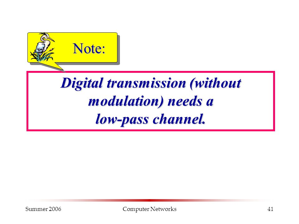 Summer 2006Computer Networks41 Digital transmission (without modulation) needs a low-pass channel. Note: