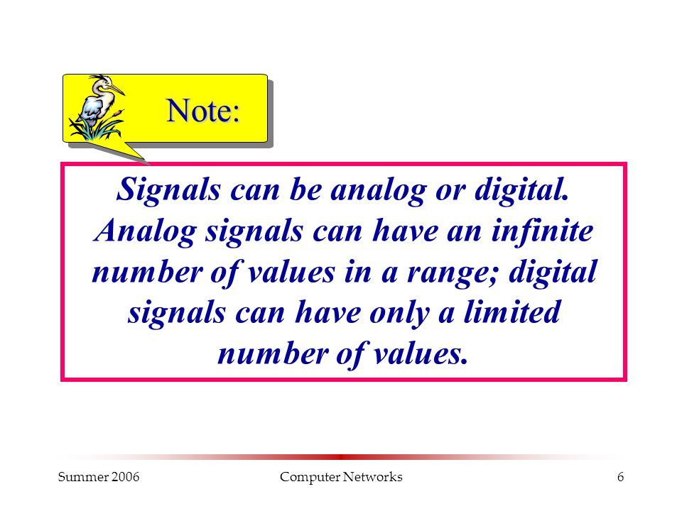 Summer 2006Computer Networks6 Signals can be analog or digital. Analog signals can have an infinite number of values in a range; digital signals can h