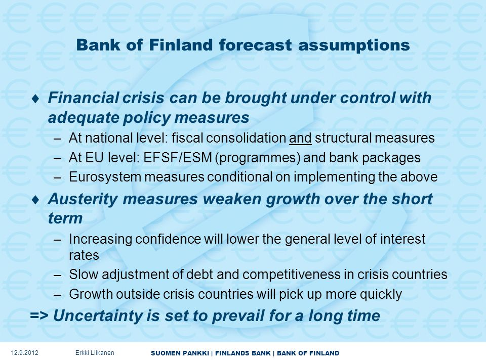 SUOMEN PANKKI | FINLANDS BANK | BANK OF FINLAND Bank of Finland forecast assumptions  Financial crisis can be brought under control with adequate policy measures –At national level: fiscal consolidation and structural measures –At EU level: EFSF/ESM (programmes) and bank packages –Eurosystem measures conditional on implementing the above  Austerity measures weaken growth over the short term –Increasing confidence will lower the general level of interest rates –Slow adjustment of debt and competitiveness in crisis countries –Growth outside crisis countries will pick up more quickly => Uncertainty is set to prevail for a long time 12.9.2012Erkki Liikanen