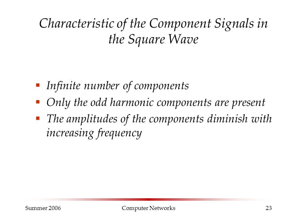 Summer 2006Computer Networks23 Characteristic of the Component Signals in the Square Wave  Infinite number of components  Only the odd harmonic components are present  The amplitudes of the components diminish with increasing frequency