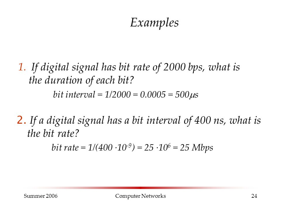 Summer 2006Computer Networks24 Examples 1. If digital signal has bit rate of 2000 bps, what is the duration of each bit? bit interval = 1/2000 = 0.000