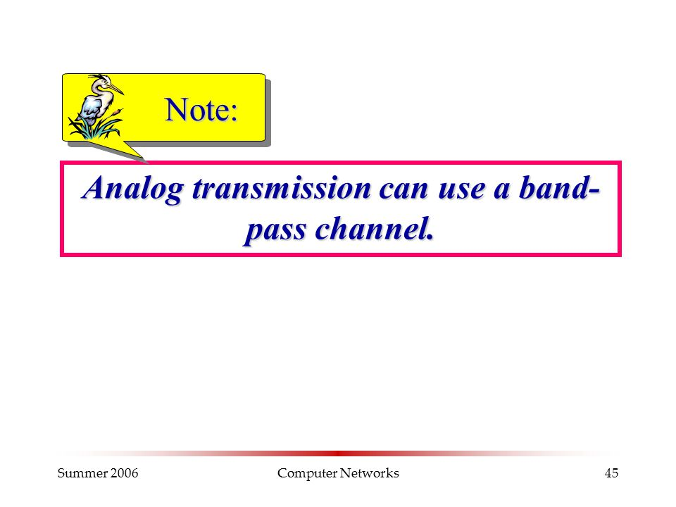 Summer 2006Computer Networks45 Analog transmission can use a band- pass channel. Note: