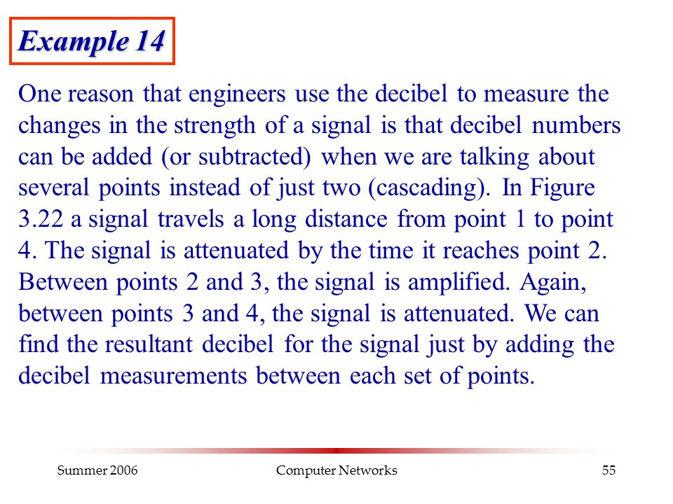 Summer 2006Computer Networks55 Example 14 One reason that engineers use the decibel to measure the changes in the strength of a signal is that decibel
