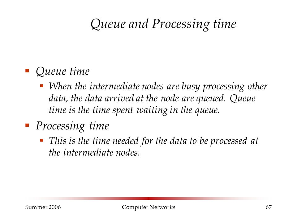Summer 2006Computer Networks67 Queue and Processing time  Queue time  When the intermediate nodes are busy processing other data, the data arrived at the node are queued.