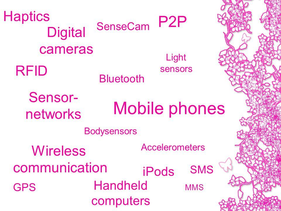RFID SenseCam GPS Wireless communication Bodysensors Digital cameras P2P Sensor- networks iPods Mobile phones Light sensors Accelerometers Haptics Bluetooth Handheld computers SMS MMS