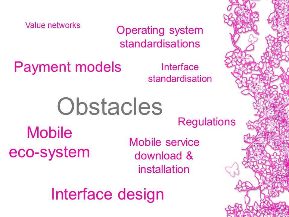 Obstacles Payment models Operating system standardisations Interface design Regulations Value networks Interface standardisation Mobile service download & installation Mobile eco-system