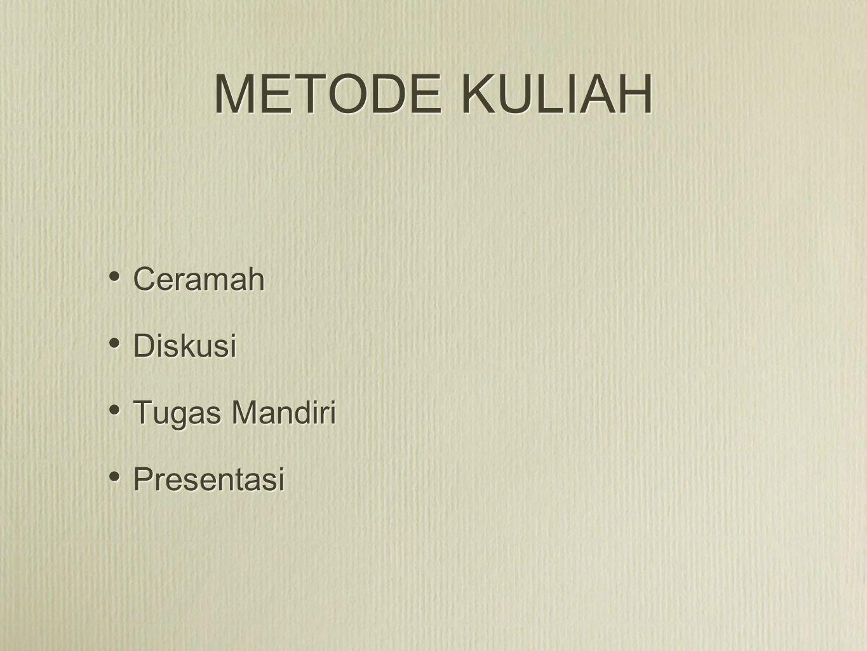 METODE KULIAH Ceramah Diskusi Tugas Mandiri Presentasi Ceramah Diskusi Tugas Mandiri Presentasi