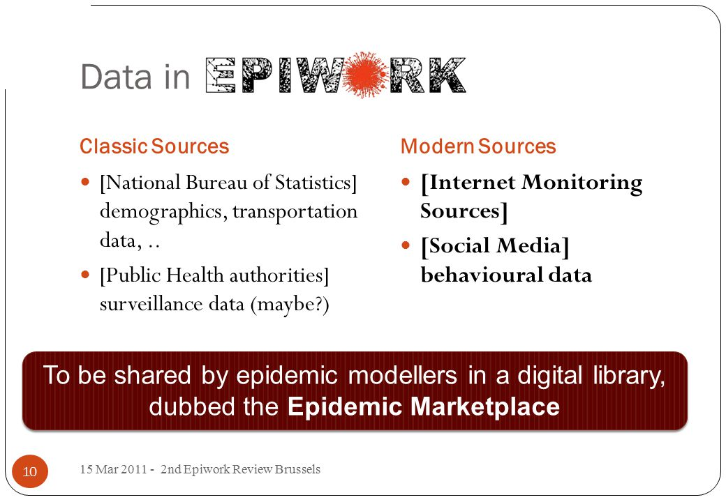 Data in Epiwork Classic SourcesModern Sources 15 Mar 2011 - 2nd Epiwork Review Brussels 10 [National Bureau of Statistics] demographics, transportation data,..