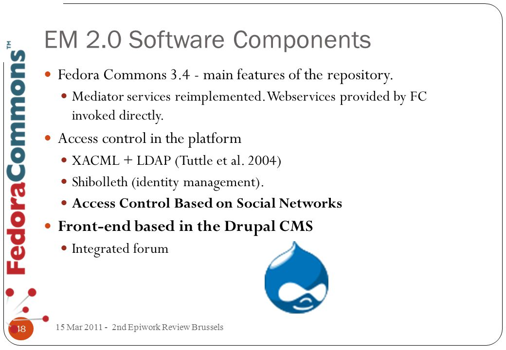 EM 2.0 Software Components Fedora Commons 3.4 - main features of the repository.