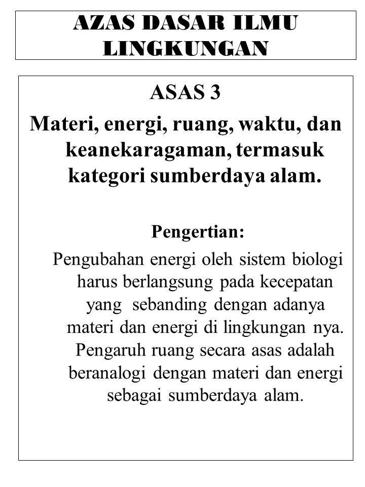 AZAS DASAR ILMU LINGKUNGAN ASAS 3 Materi, energi, ruang, waktu, dan keanekaragaman, termasuk kategori sumberdaya alam.