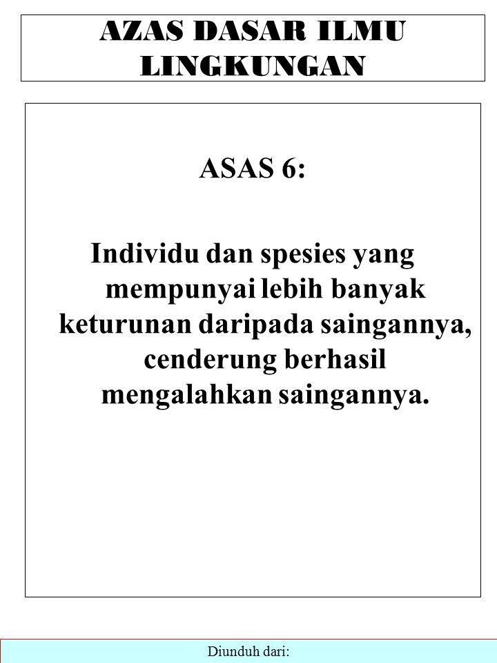 AZAS DASAR ILMU LINGKUNGAN ASAS 6: Individu dan spesies yang mempunyai lebih banyak keturunan daripada saingannya, cenderung berhasil mengalahkan saingannya.