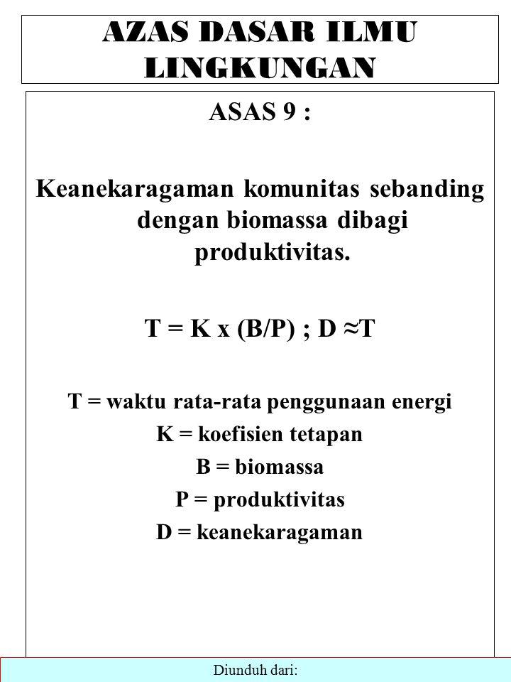 AZAS DASAR ILMU LINGKUNGAN ASAS 9 : Keanekaragaman komunitas sebanding dengan biomassa dibagi produktivitas.