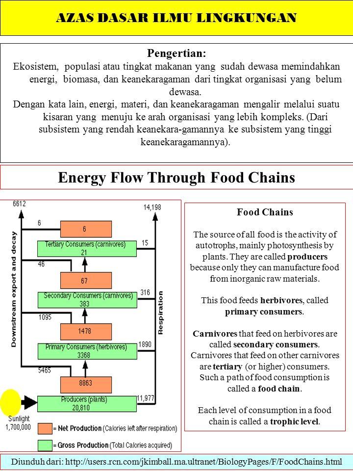 AZAS DASAR ILMU LINGKUNGAN Pengertian: Ekosistem, populasi atau tingkat makanan yang sudah dewasa memindahkan energi, biomasa, dan keanekaragaman dari tingkat organisasi yang belum dewasa.