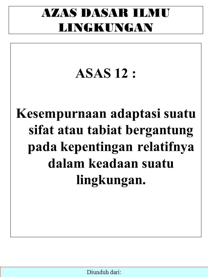AZAS DASAR ILMU LINGKUNGAN ASAS 12 : Kesempurnaan adaptasi suatu sifat atau tabiat bergantung pada kepentingan relatifnya dalam keadaan suatu lingkungan.