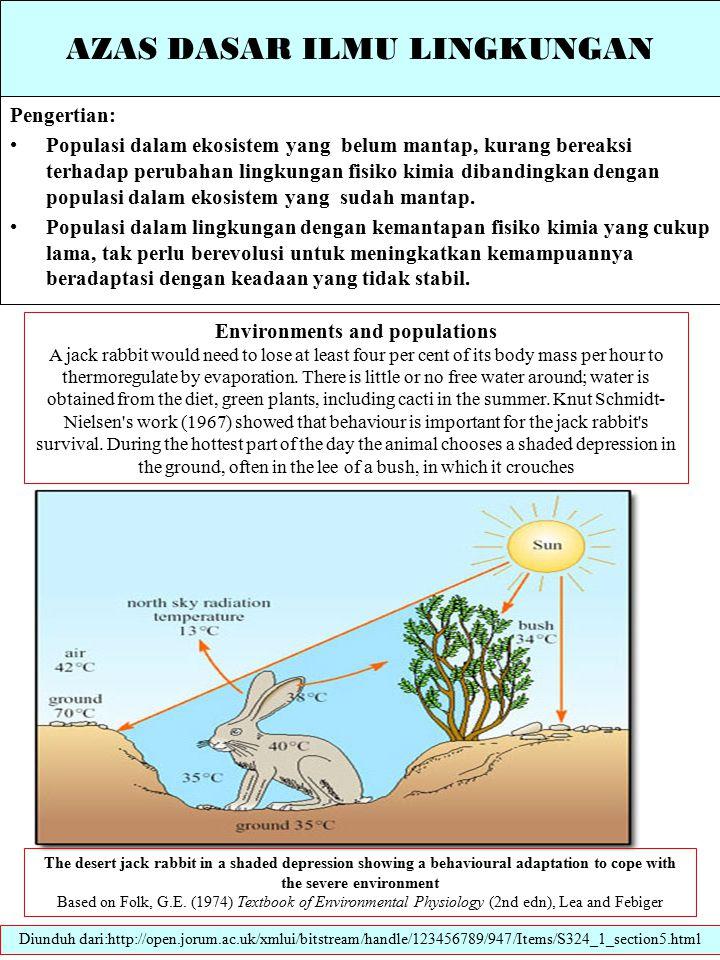 AZAS DASAR ILMU LINGKUNGAN Pengertian: Populasi dalam ekosistem yang belum mantap, kurang bereaksi terhadap perubahan lingkungan fisiko kimia dibandingkan dengan populasi dalam ekosistem yang sudah mantap.