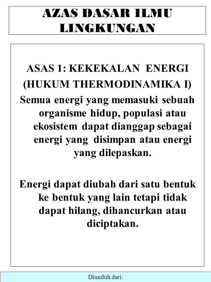 AZAS DASAR ILMU LINGKUNGAN ASAS 1: KEKEKALAN ENERGI (HUKUM THERMODINAMIKA I) Semua energi yang memasuki sebuah organisme hidup, populasi atau ekosistem dapat dianggap sebagai energi yang disimpan atau energi yang dilepaskan.