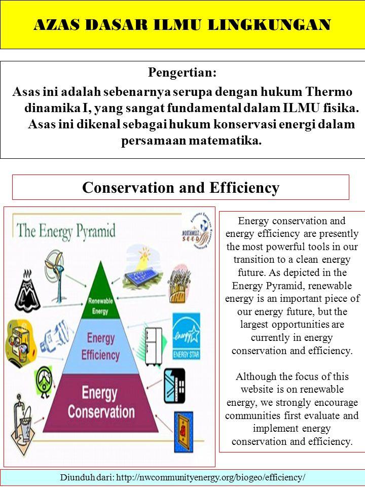 AZAS DASAR ILMU LINGKUNGAN Pengertian: Asas ini adalah sebenarnya serupa dengan hukum Thermo dinamika I, yang sangat fundamental dalam ILMU fisika.