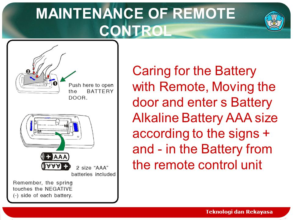 MAINTENANCE OF REMOTE CONTROL Teknologi dan Rekayasa Caring for the Battery with Remote, Moving the door and enter s Battery Alkaline Battery AAA size according to the signs + and - in the Battery from the remote control unit