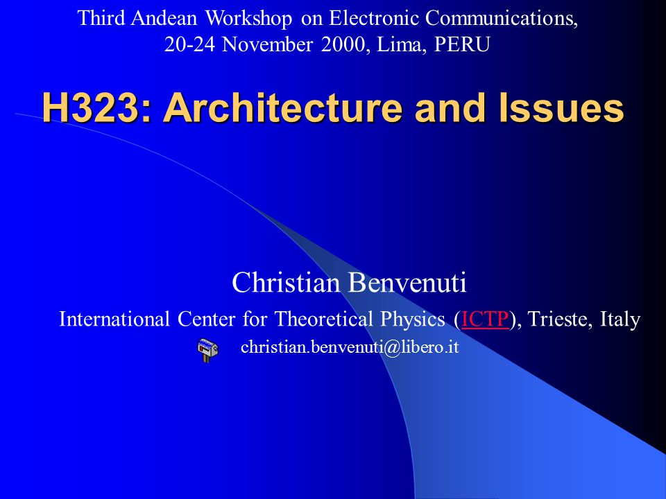 christian.benvenuti@libero.it Third Andean Workshop on Electronic Communications, 20-24 November 2000, Lima, PERU ICTP & Developing countries Developing countries often means – No 24x7x365 internet connection – Low bandwidth links Bad phone line quality (PPP problems...) – Satellite link .