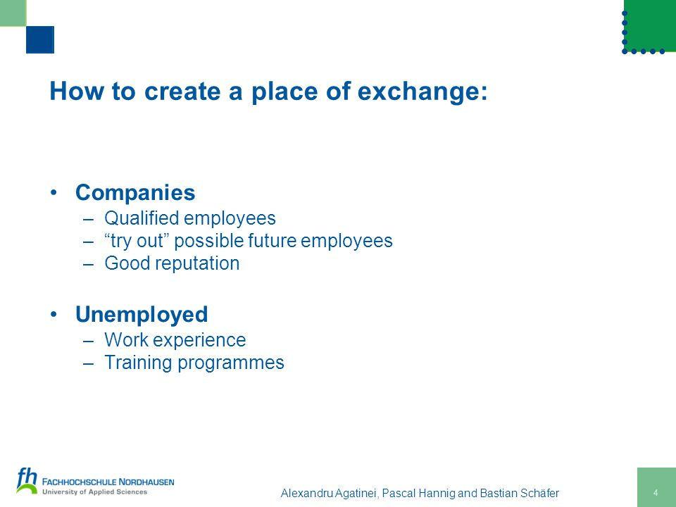 How to create a place of exchange: Companies –Qualified employees – try out possible future employees –Good reputation Unemployed –Work experience –Training programmes Alexandru Agatinei, Pascal Hannig and Bastian Schäfer 4