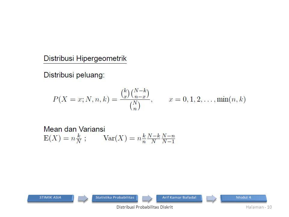Distribusi Probabilitas DiskritHalaman - 10