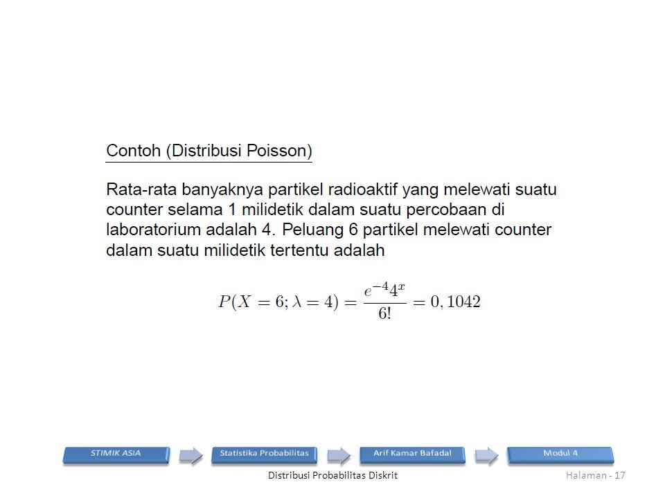 Distribusi Probabilitas DiskritHalaman - 17