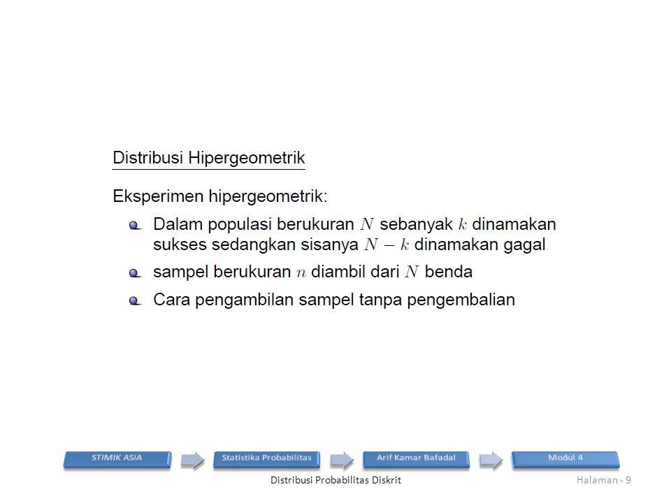 Distribusi Probabilitas DiskritHalaman - 9