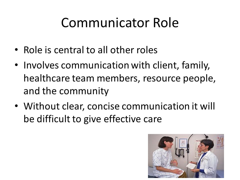 Communicator Role Role is central to all other roles Involves communication with client, family, healthcare team members, resource people, and the com