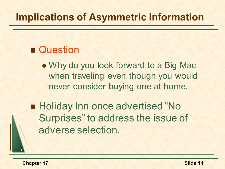 Chapter 17Slide 14 Implications of Asymmetric Information Question Why do you look forward to a Big Mac when traveling even though you would never con